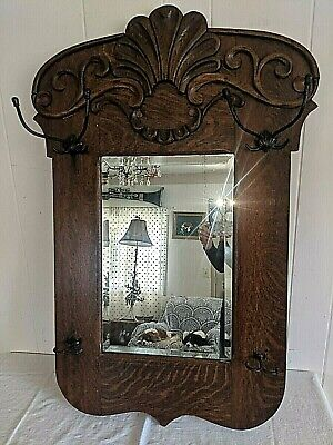 Gorgeous Ornate Vtg Antique Quartersawn Oak Hall Beveled Mirror Hat Coat Rack