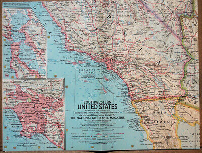 """1959 National Geographic Atlas Map Plate #12  S. W.  United States 19 x 25"""" MINT"""