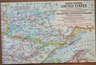 """1958 National Geographic Atlas Map Plate #9  North Central U.S.A. 19 x 25"""" MINT"""