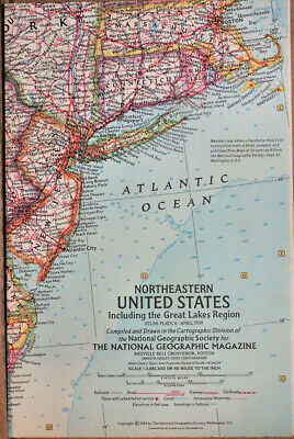 "1959 National Geographic Atlas Map Plate #6  N. E. United States 19 x 25"" MINT"