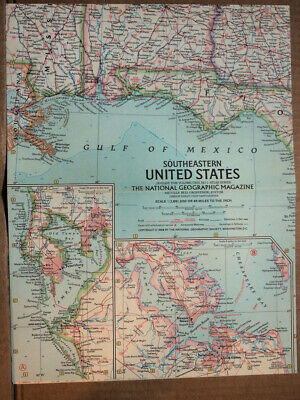 """1958 National Geographic ATLAS MAP Plate #1  S. E. United States 19 x 25"""" MINT"""