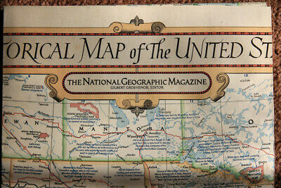 "1953 JUN National Geographic Historical Map of the United States 26 x 41"" GOOD"