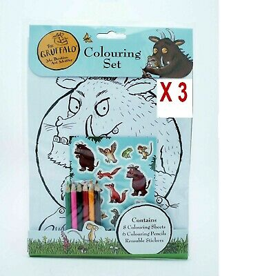The Gruffalo Colouring Set Sheets Pencils & Stickers Art Crafts Children's X 3