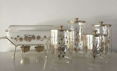 Pyrex Golden Pine Cones Canisters
