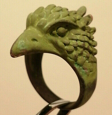 Ancient Viking Style Metal Color Silver Ring Solid Bird HEAD SYMBOL Stunning