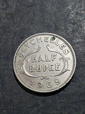 1969 Seychelles Half Rupee Queen Elizabeth Second Coin #003