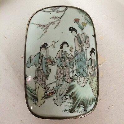 Chinese Antique Porcelain Silver Inlaid Box