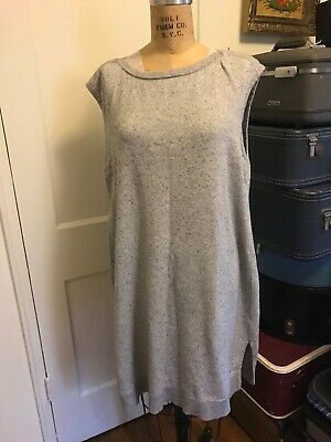 EILEEN FISHER Dress Cotton Cashmere Blend Heather Gray Knit Size Large
