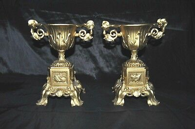 Antique 19th Century Victorian Ornate Urns PAIR France Spelter?