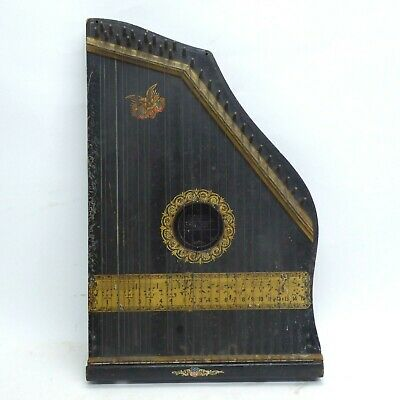 1894 Autoharp Black and Gold with Eagle Holding American Flags
