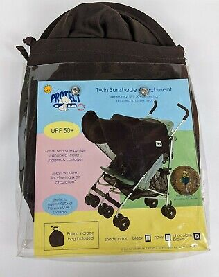 Protect A Bub UPF 50+ Twin Sunshade Attachment Stroller Chocolate Brown NEW