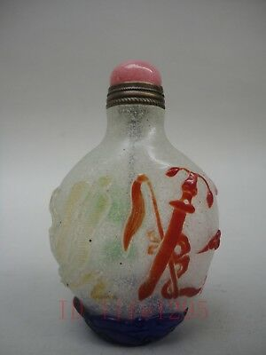 China Ancient Glass Hand-carved Stealth Eight Immortals Snuff Bottles Jade Hat