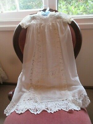 Lovely Antique Lace & Georgette Pintucked Babys Christening Gown & Petticoat