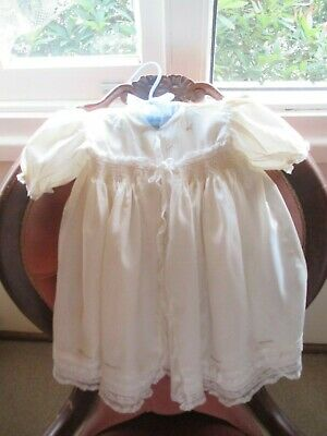 Lovely Vintage Cream Lace & Georgette Smocked Embroidered Babys  Gown & Jacket