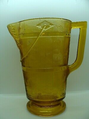 EAPG   Bryce Brothers Glass Co's Amber Wooden Pail Water Pitcher