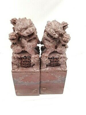 Pair Antique Hand Carved Soapstone Chinese foo dogs