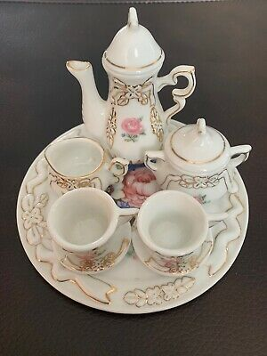 Floral Gold Trimmed Miniature Tea Set 10 Pc Flowers Greens Tea Pot