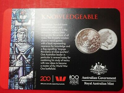 """2018 20 CENT -FROM THE ANZAC SPIRIT COIN COLLECTION, """"Knowledgeable"""" in card."""