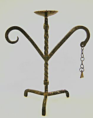 LOOK -Big old  Vintage Wrought Iron Art Candle Holder Black Iron Great Art Decor