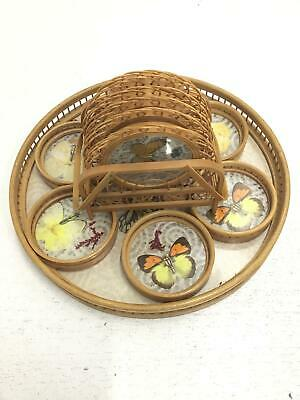 Pressed Butterfly Bamboo Coasters X12 Caddy Serving Tray Vintage 1970's X14 #323