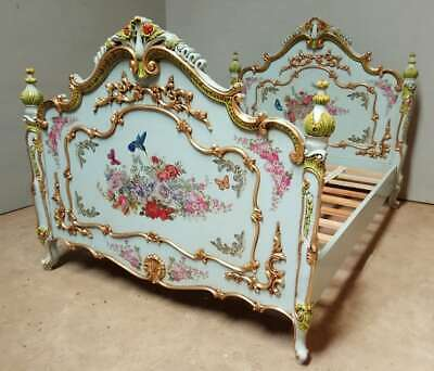 """Mahogany 4'6"""" Double French Painted Floral Blue Antique Romantic Country Bed"""