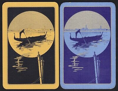 2 Single VINTAGE Swap/Playing Cards GONDOLA BOAT MAN + BUILDINGS Gold/Silver
