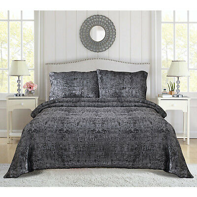 Black Luxury Quilted 3 Piece Bedspread Bed Throws Double King Super King Size