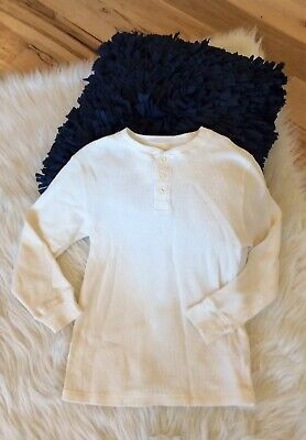 Long Sleeve Waffle Shirt Thermal Off White Boys Girls 10 12 Top