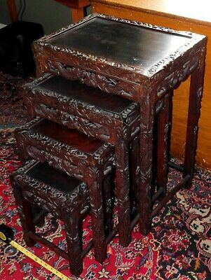 Set of Antique Carved Oriental Chinese Rosewood nesting tables hand carve dragon