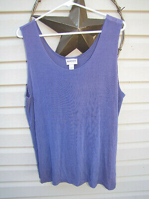 NWT Womens Chico's Travelers, Contemporary Purple Tank, Slinky Acetate.  Size 3.