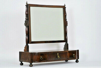 Antique english Mahogany Vanity make up dresser mirror cabinet drawers