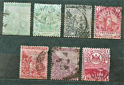 Lot Of 7 Old British Colony Stamps Cape Of Good Hope, Good /Used