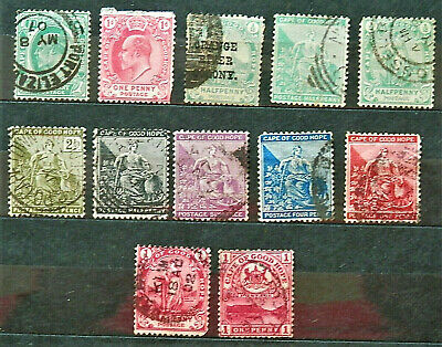 Lot Of 12 Old British Colony Stamps Cape Of Good Hope, Good /Used