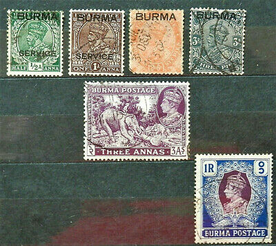 Lot Of 6 Old British Colony Stamps Burma , Good /Used