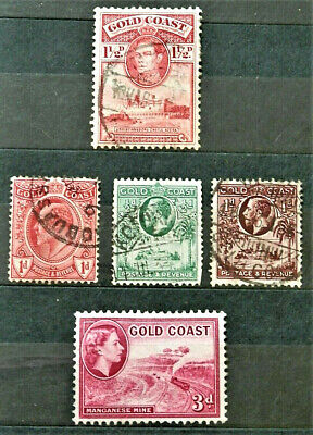 "Lot Of 5 Old British Colony Stamps ""Gold Coast'' Good ,Used"