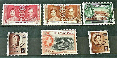 "Lot Of 6 Old British Colony Stamps "" Dominica '' Good ,Used"