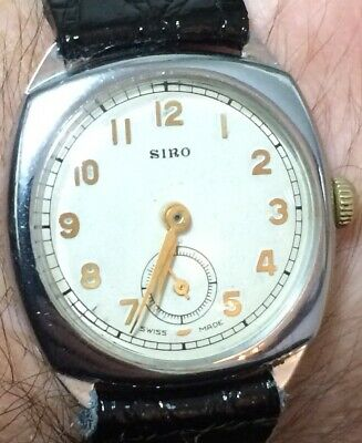 "GENTS Vintage ""SIRO"" 1940s/50s Cushion Watch CAL 296 ""ORIS WATCH CO"" SUPERB"