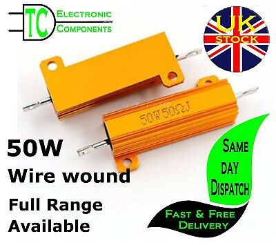 50W Aluminium Power Resistors Full Range Available 0.01 ohm - 100K ohm  Free P&P