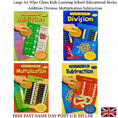 Large A4 Wipe Clean Kids Learning School Educational Books Maths Addition Divide