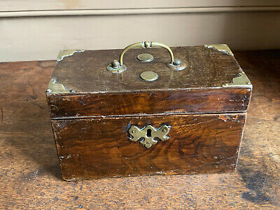 Unusual 18th century georgian brass bound estate-made oak veneered tea caddy