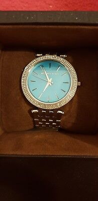 NEW & perfect Michael Kors Ladies Turquoise Blue diamond Dial Watch Box gift