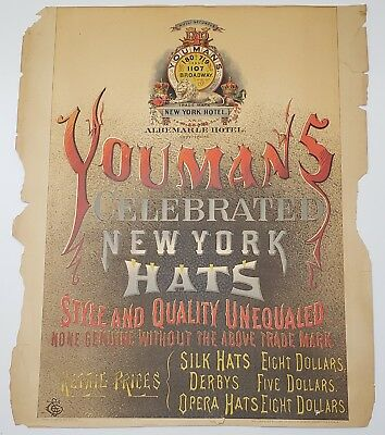 Youmans New York and Albemarle Hotel Advertising 16x13 SCARCE c1900 Poster Card