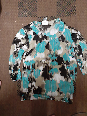 millers size 12 blue black abstract  woman womens top shirt polyester