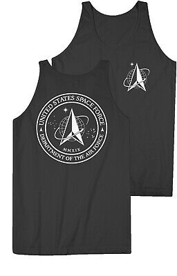 US Space Force Logo Tank Top - Air Force Military USSF Black - Donald Trump