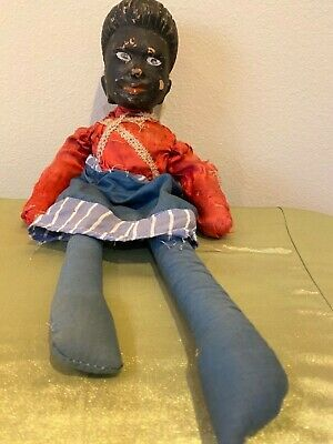 Antique Old Carved Wood and Cloth Folk Art Americana Wooden Doll Primitive