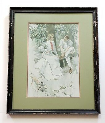 """1904 Harrison FISHER Victorian MATCH PLAY - GOLF  Professionally Framed 21""""x18"""""""