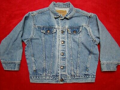 VTG Boys Girls Little Levis Denim Blue Jean Jacket Orange Tab Label Size 7x
