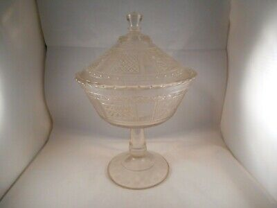 EAPG Clear Glass Covered Compote, Panelled Forget-Me-Not Pattern, Bryce Brothers