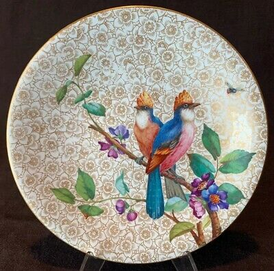 """Antique Royal Worcester Bird Gold Flowers Cabinet Plate 9"""" Dia Hand Painted"""