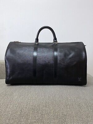 Authentic Louis Vuitton Black Epi Keepall 50 Travel Duffle Weekender Bag